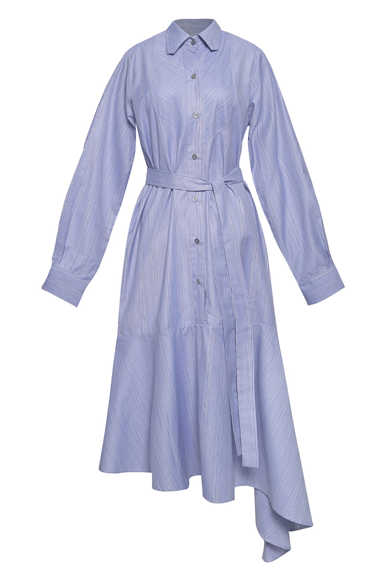 Asymmetrical Flare Pin Wheel Shirt Dress with Slit Sleeves