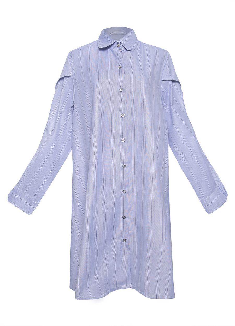 Tulip Sleeve Cotton Shirt Dress
