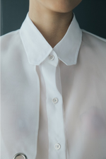 Right Front Panel Organdy Shirt in White