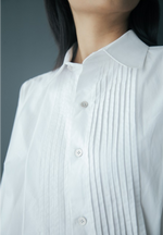 Multi Pin-Tucked Asymmetrical Cotton Shirt in White