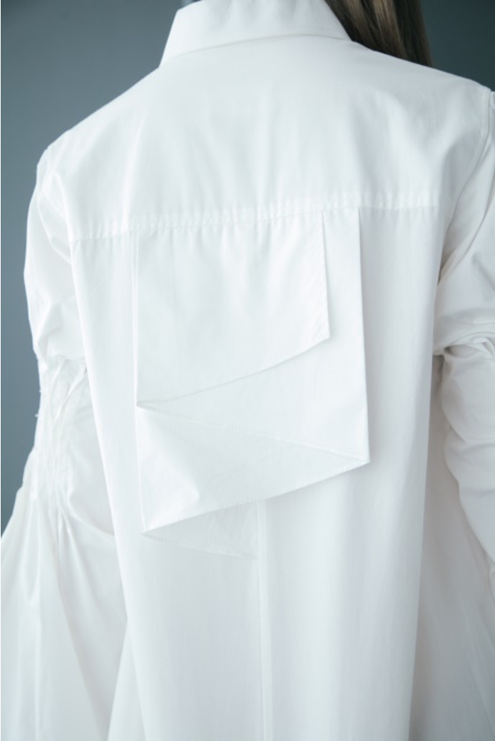 Ruffled Back Honeycomb Sleeve Cotton Shirtdress in White