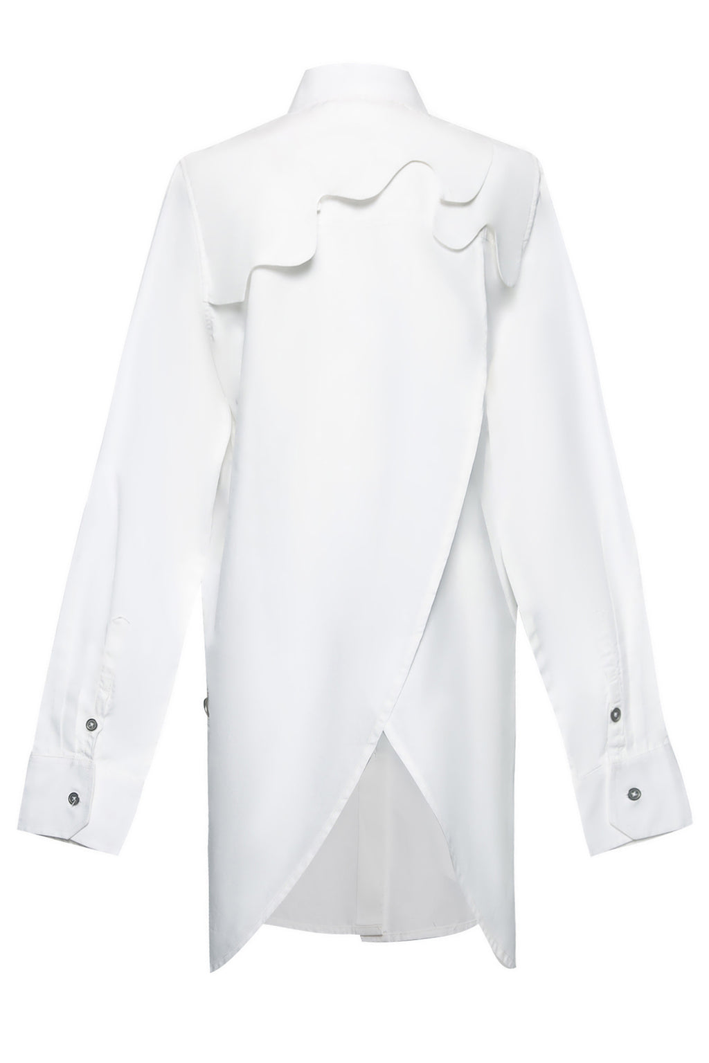 Overlap Back Cloud Yoke Cotton Shirt in White
