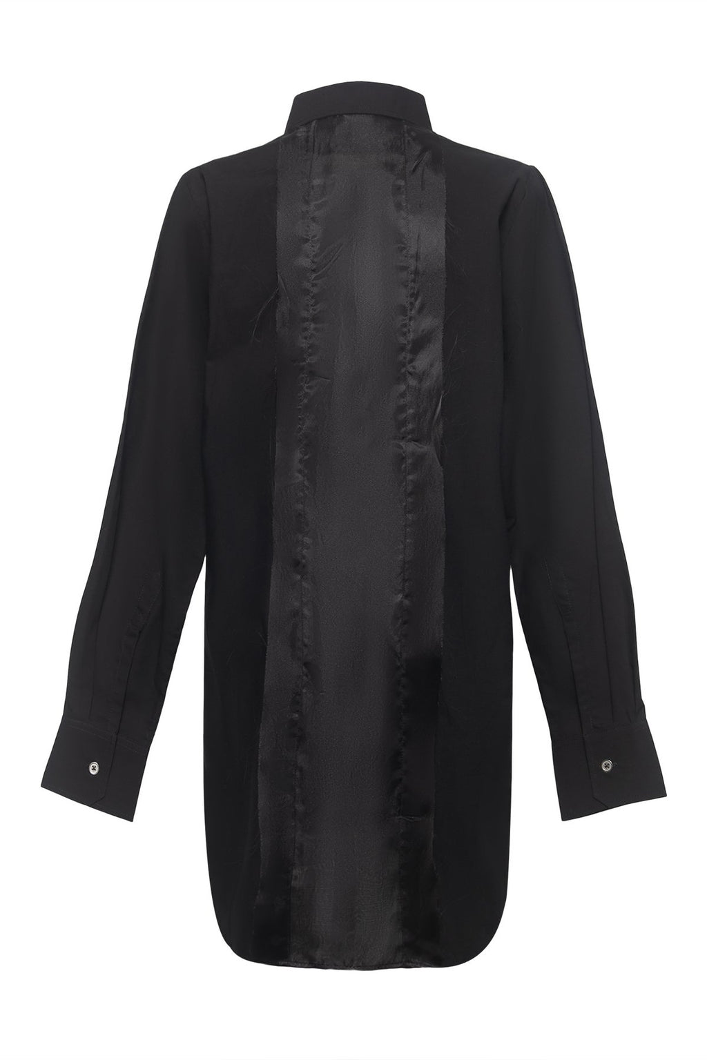 Classic Cotton Shirt with Organdy Back Panel in Black