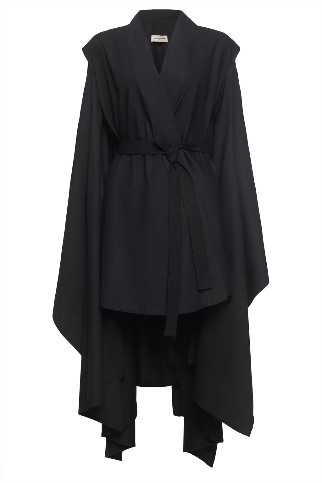Cape Kimono Cotton Dress in Black