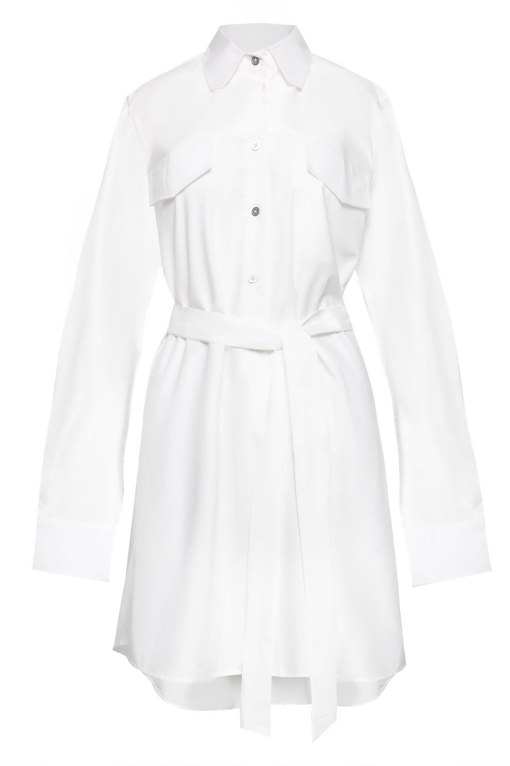 Double Front Pocket Mini Cotton Shirtdress in White