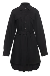 Double Front Pocket Mini Cotton Shirtdress in Black