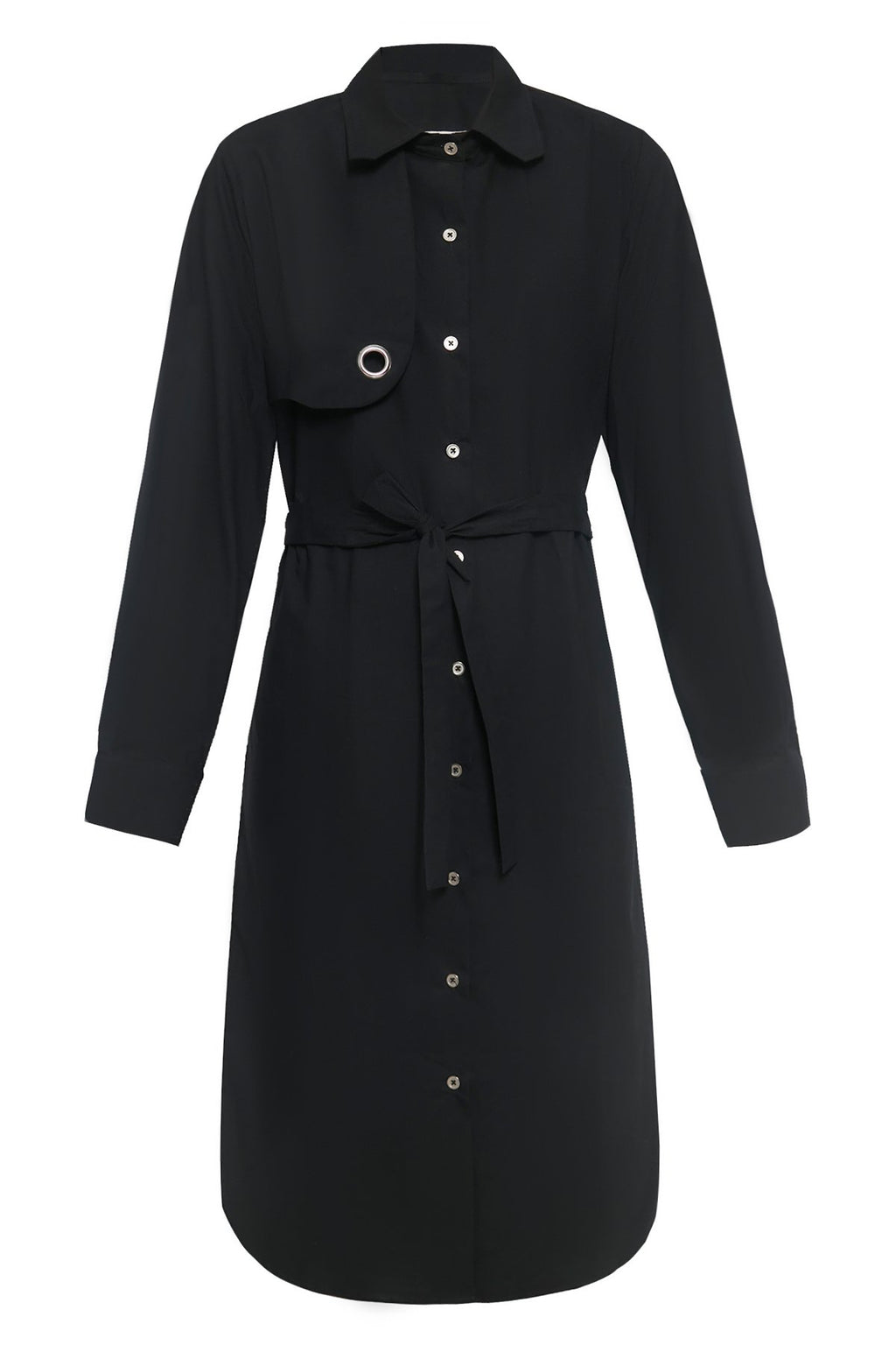 Right Front Panel Cotton Shirtdress in Black