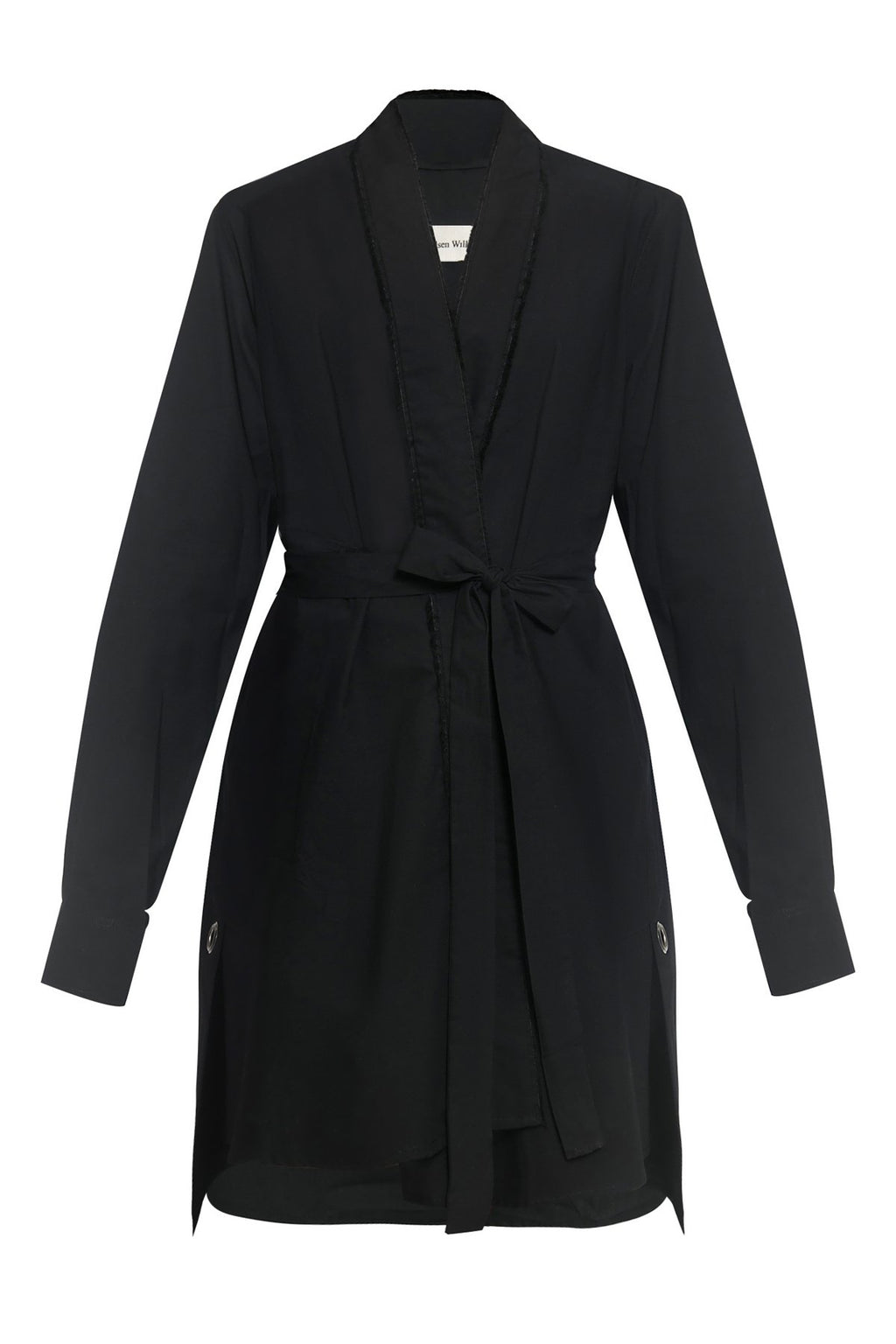 Frayed Edges Kimono Cotton Shirtdress in Black