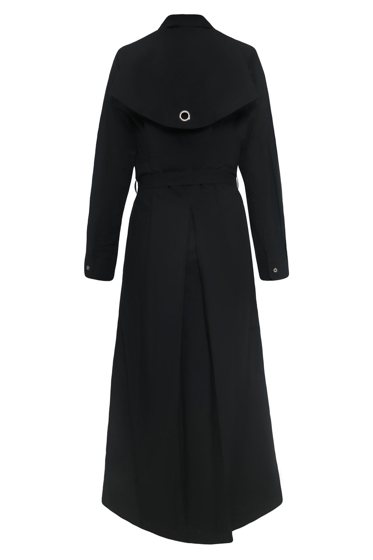 Long Trench Cotton Shirtdress in Black