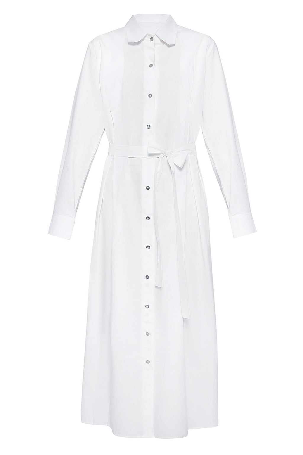 Long Trench Cotton Shirtdress in White
