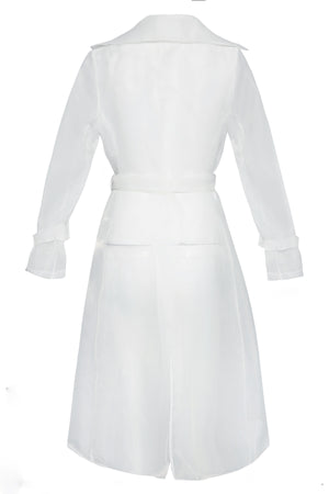 Nipped Waist Organdy Duster Jacket in White