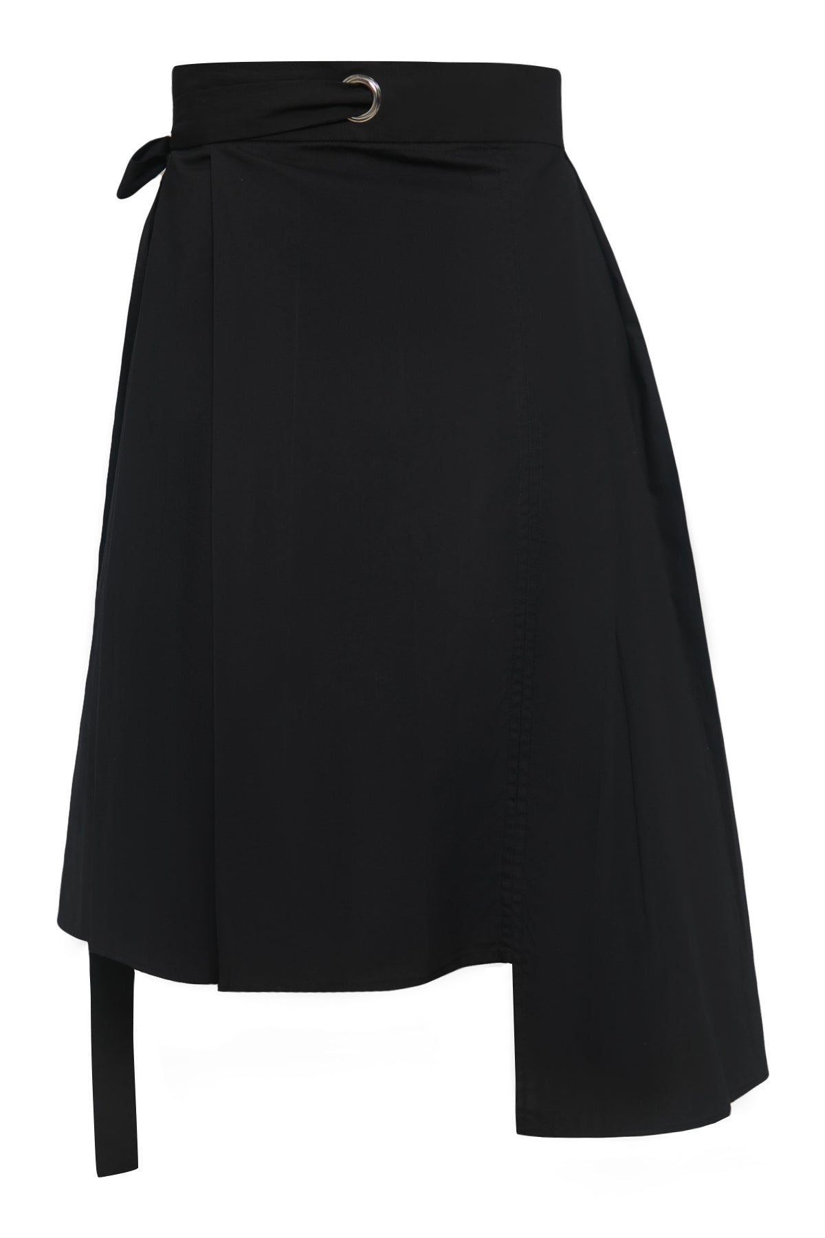 Multiple Pleats Cotton Wrap Skirt