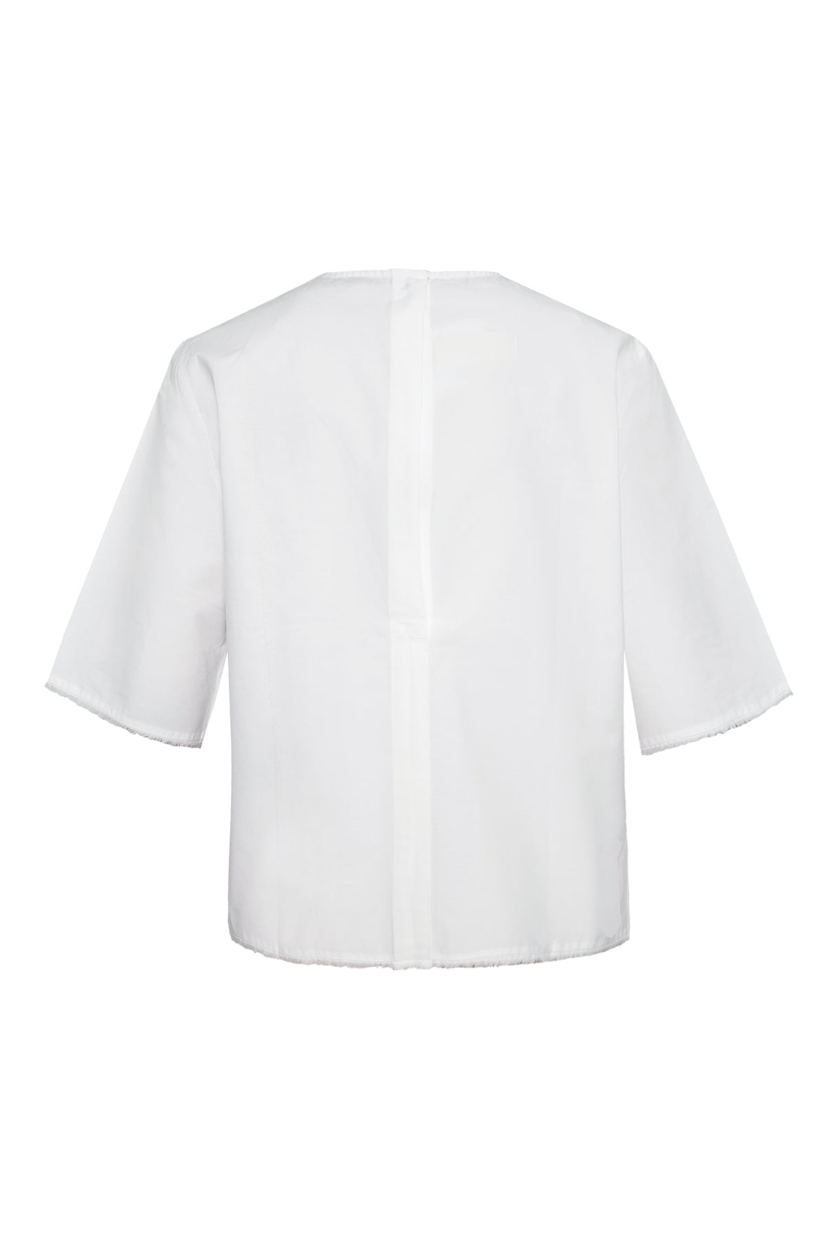 Frayed Edges Crew Neck Cotton Shirt