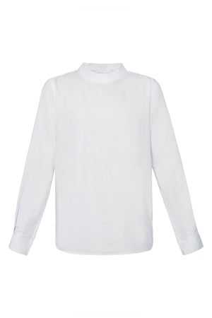 Mock Neck Cotton Shirt in White