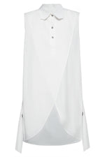Sleeveless Overlap Front Cotton Tunic in White