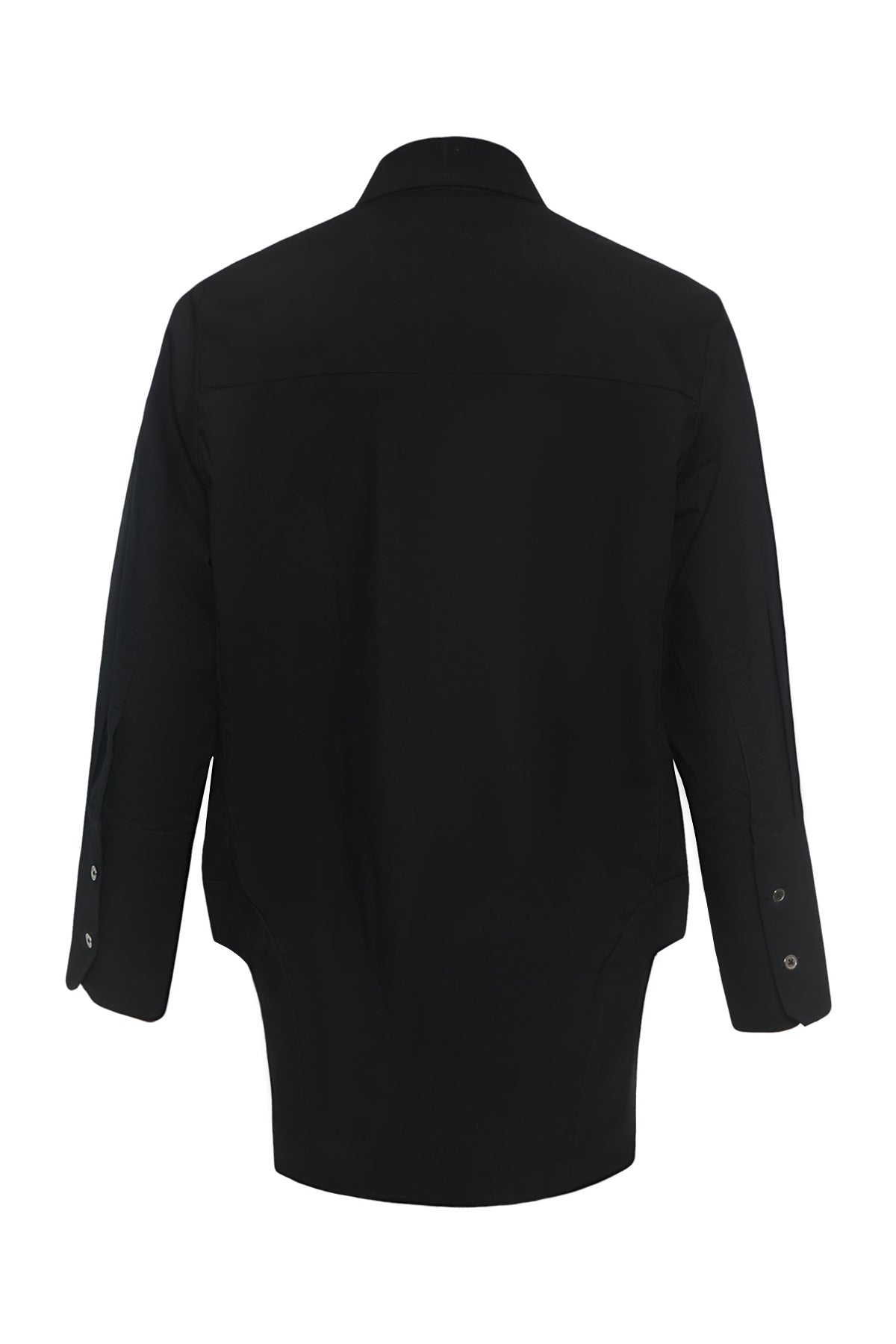 Double Pocket Curved Bottom Cotton Shirt in Black
