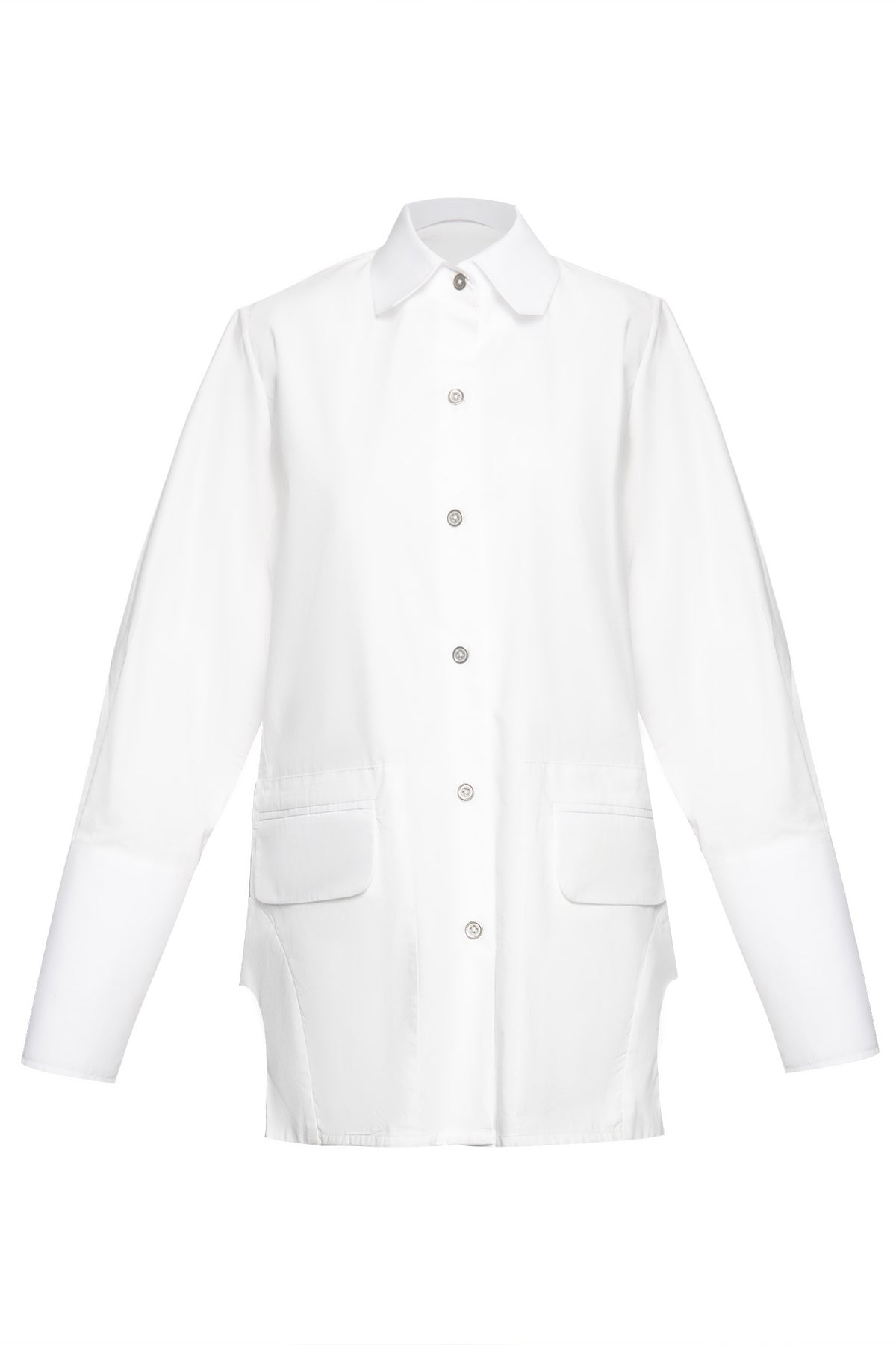 Double Pocket Curved Bottom Cotton Shirt in White