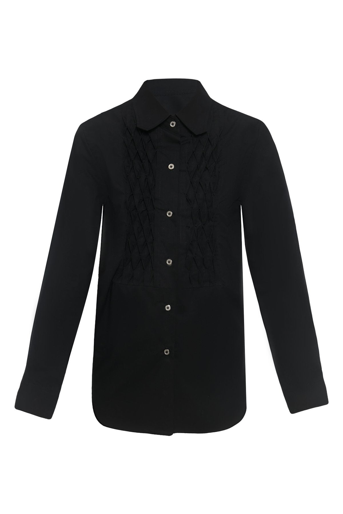 Honeycomb Front Panel Cotton Shirtdress in Black