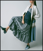 Belted Kimono Style Long Coat in Striped Coarse Linen