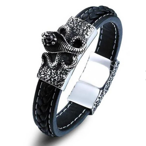 Snake Bracelet <br> Demonic Cobra (leather) - The Vipers House