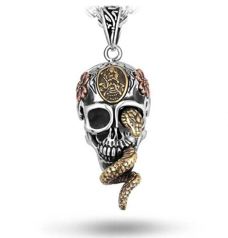 Snake Necklace <br> Poisonous Skull (silver) - The Vipers House