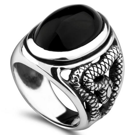 Snake Ring <br> Black Agate (silver) - The Vipers House