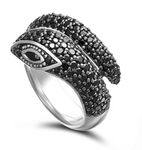 Snake Ring Black White