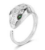 silver color emerald snake ring