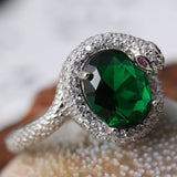 silver serpent ring with green diamond