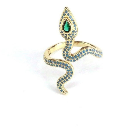 snake ring with green paving stone