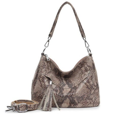 python snakeskin handbag for women