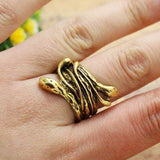 thranduil lord of the rings snake ring silver gold plated