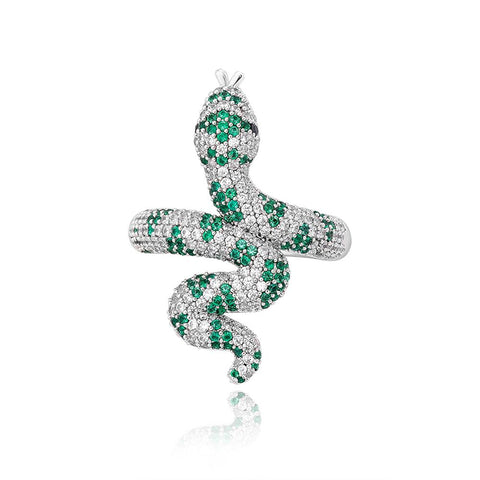 cubic zirconia snake ring green stone