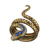 snake ring gold with emerald eyes