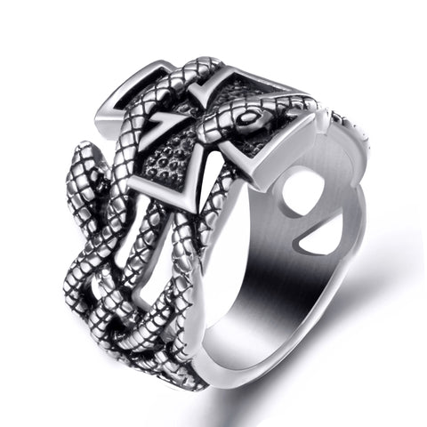 Snake Ring Serpentine Cross