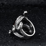 Snake Ring <br> The Ruby Guardian (steel) - The Vipers House