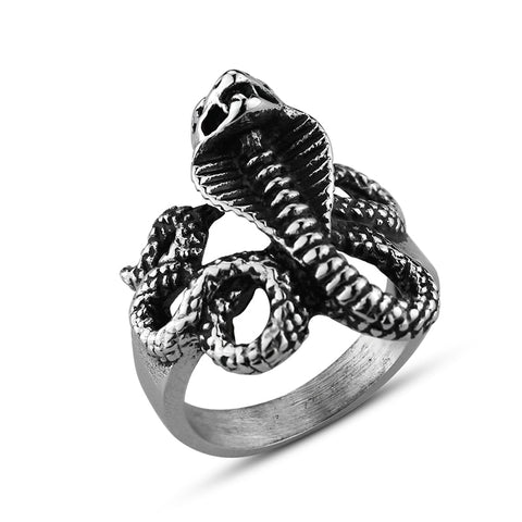 Snake Ring <br> Arabian Cobra (steel)
