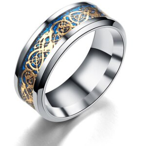 Snake Ring Golden Blue Celtic Serpent