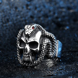 Snake ring <br> evil skull (silver) - The Vipers House