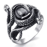 Snake Ring Black Ruby Guardian