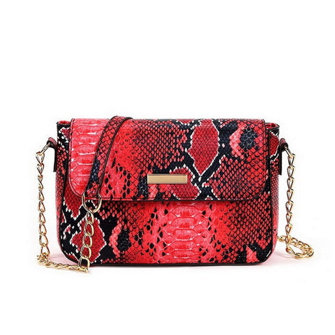 red snakeskin handbag