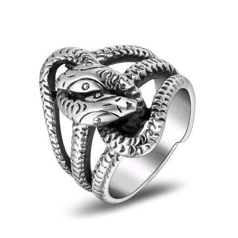 Snake ring <br> serpent of hell (steel) - The Vipers House