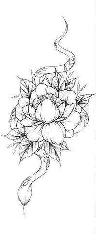 flower and snake temporary tattoo design