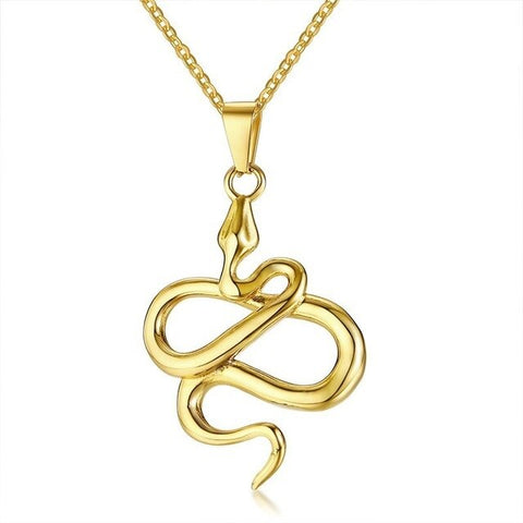 Snake Necklace - Coiled Golden Viper (Steel) - The Vipers House