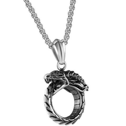 Snake necklace - Silver Ouroboros (steel) - The Vipers House