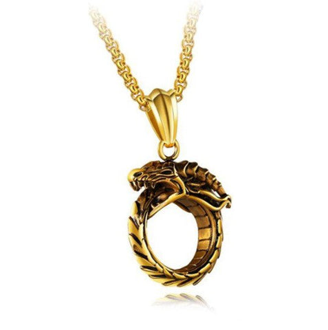 Snake necklace - Gold Ouroboros - The Vipers House