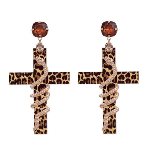 Snake Earrings - Poisonous Cross (steel) - The Vipers House