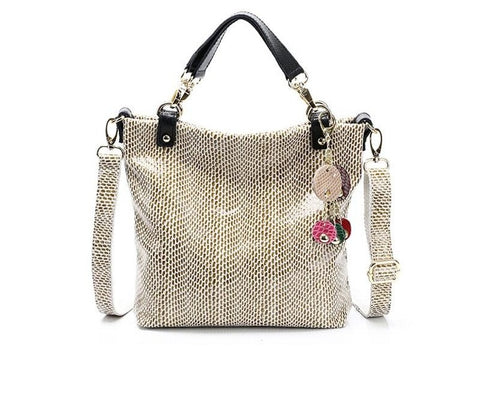 snakeskin animal print handbag