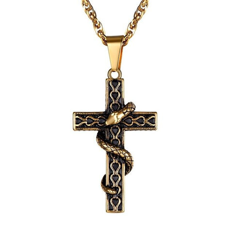 Snake Necklace - Gold Cross - The Vipers House