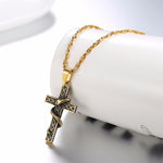 Snake Necklace <br> Gold Cross (Steel)